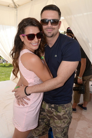 THERMAL, CA - APRIL 12: Actors Lea Michelle (L) and Mark Salling attend Day 1 of the LACOSTE Beautiful Desert Pool Party on April 12, 2014 in Thermal, California. (Photo by Chris Weeks/Getty Images for LACOSTE)