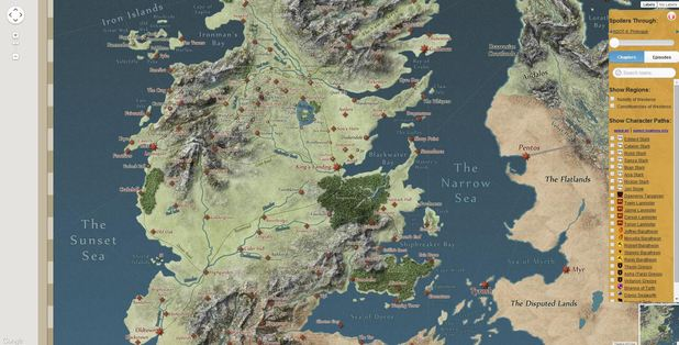 The Game of Thrones interactive map