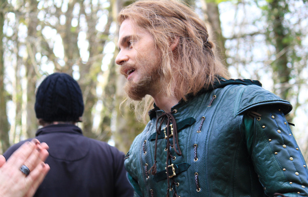 Tom Riley filming on location for Doctor Who: 'The Robots of Sherwood'