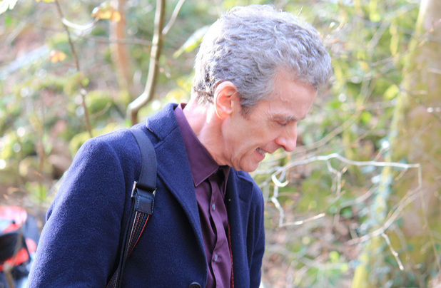 Peter Capaldi filming on location for Doctor Who: 'The Robots of Sherwood'