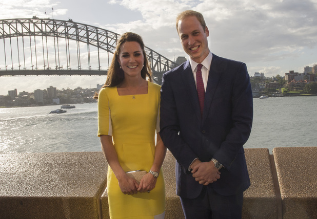 SYDNEY, AUSTRALIA - APRIL 16: Prince William, Duke of Cambridge and Catherine, Duchess of Cambridge pose in front of the Sydney Harbour Bridge as they attend a reception hosted by the Governor and Premier of New South Wales on April 16, 2014 in Sydney, Australia. The Duke and Duchess of Cambridge are on a three-week tour of Australia and New Zealand, the first official trip overseas with their son, Prince George of Cambridge. (Photo by Arthur Edwards - WPA Pool/Getty Images)