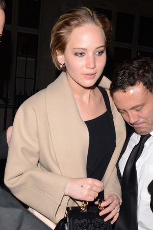 Jennifer Lawrence wearing a ring on her wedding finger