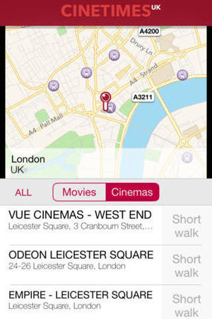 Cinetimes UK app for iOS