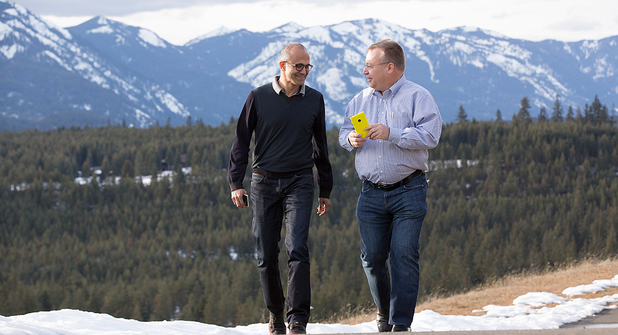 Microsoft CEO Satya Nadella with Stephen Elop