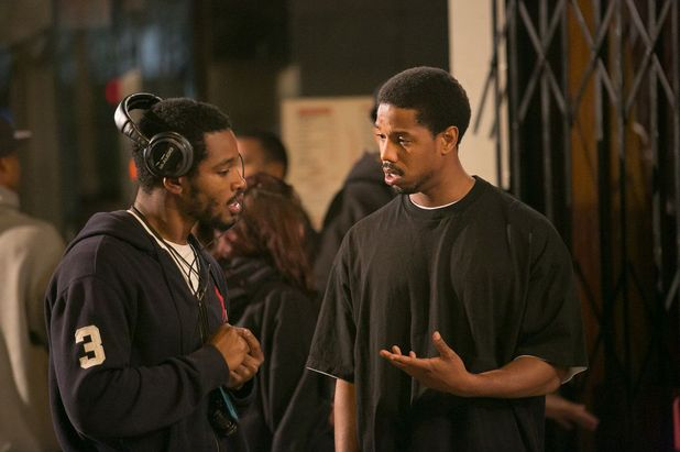 Ryan Coogler and Michael B Jordan on the set of Fruitvale Station
