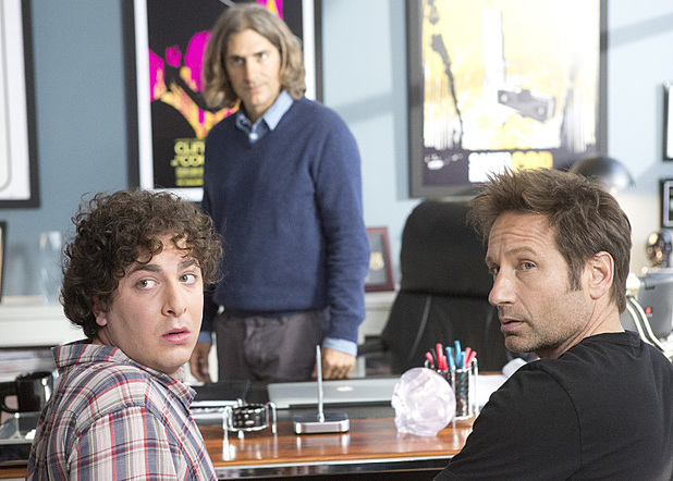 John Madison Tye as Terry, Michael Imperioli as Rath, Jade Catta-Preta Jade and David Duchovny as Hank in Californication