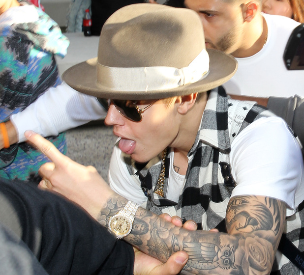 Justin Bieber is seen leaving LAX after being detained by immigration officials
