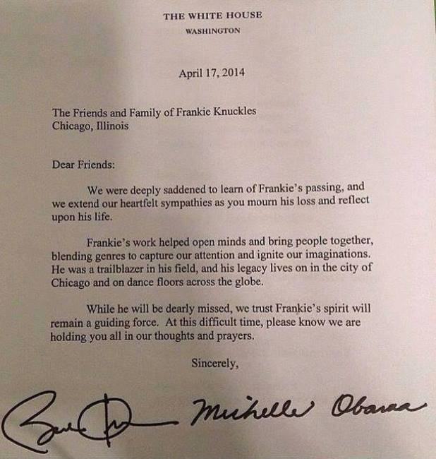 Michelle Obamas' letter to Frankie Knuckles