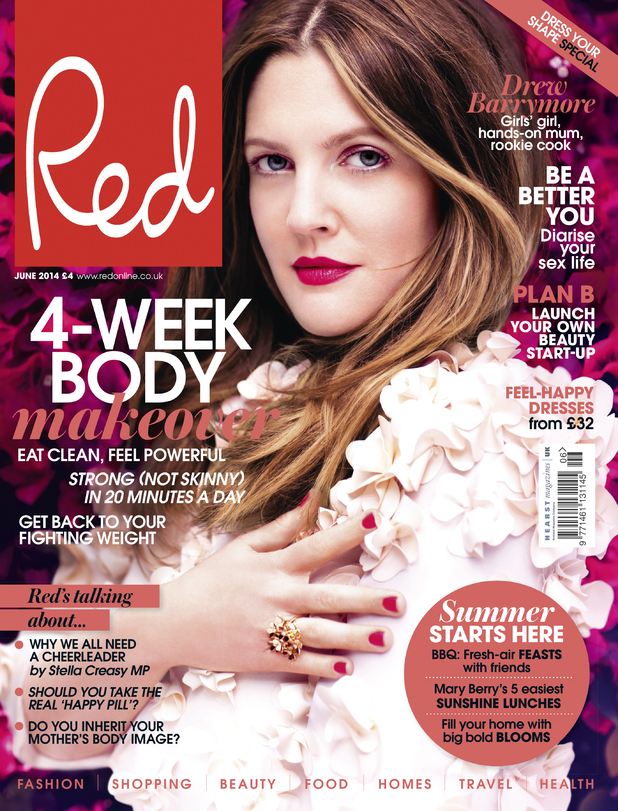 Drew Barrymore on the front cover of Red