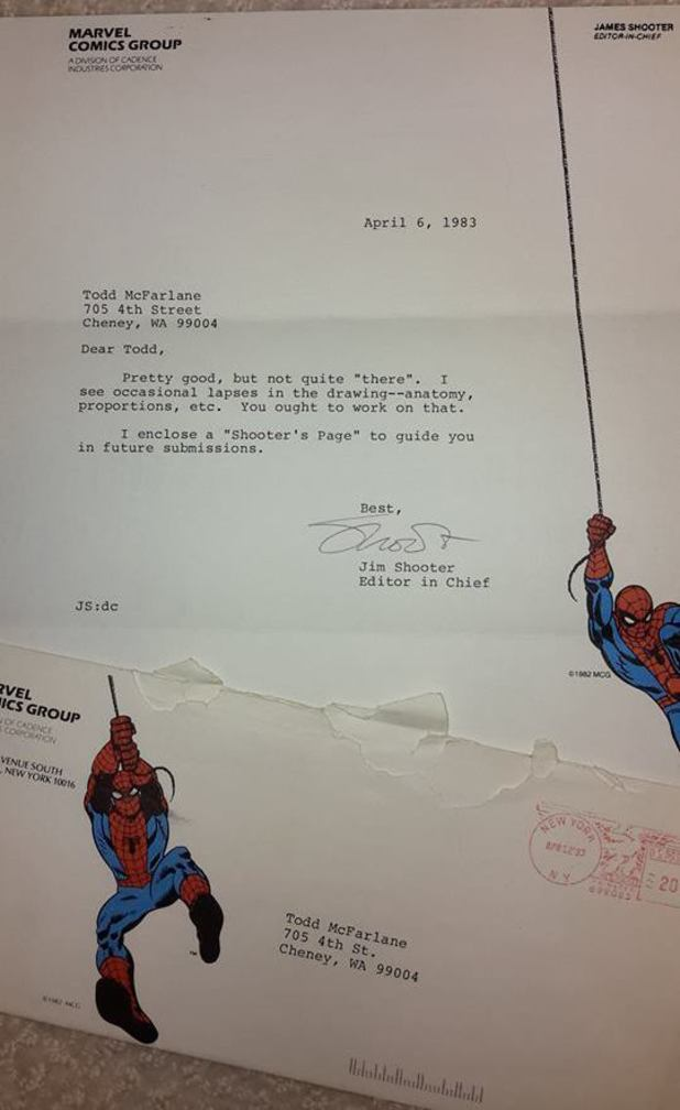 Todd McFarlane's rejection letters