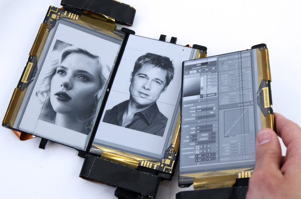 PaperFold smartphone with tripe E-ink display