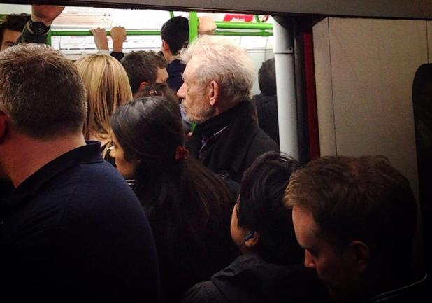 Sir Ian McKellen boards a tube during the strike in London