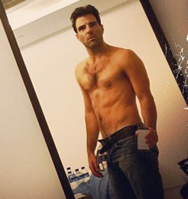 Zachary Quinto shirtless on Instagram