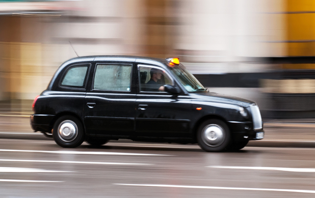 Black cab on the move in London