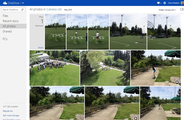Increased thumbnail size on OneDrive for the web