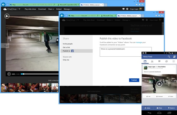 Facebook video publishing on OneDrive