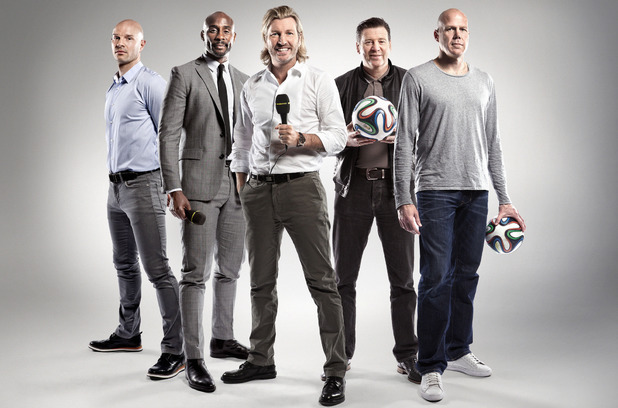 The BBC World Cup 2014 radio presenter team Danny Mills, Jason Roberts, Robbie Savage, Chris Waddle, Brad Friedel