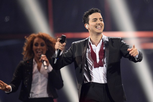 Basim representing Denmark performs during the Eurovision Song Contest 2014 Grand Final