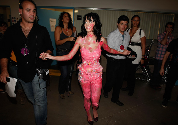 GUADALAJARA, MEXICO - OCTOBER 16: Singer Katy Perry walks backstage after jumping on a cake on stage during the 7th Annual 'Los Premios MTV Latin America 2008' Awards held at the Auditorio Telmex on October 16, 2008 in Guadalajara, Mexico. (Photo by Kevin Winter/Getty Images)