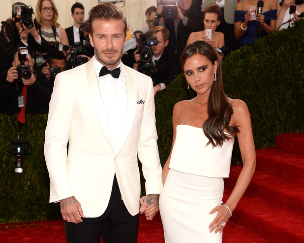 NEW YORK, NY - MAY 05: David Beckham and Victoria Beckham attend the 'Charles James: Beyond Fashion' Costume Institute Gala at the Metropolitan Museum of Art on May 5, 2014 in New York City. (Photo by Jamie McCarthy/FilmMagic)