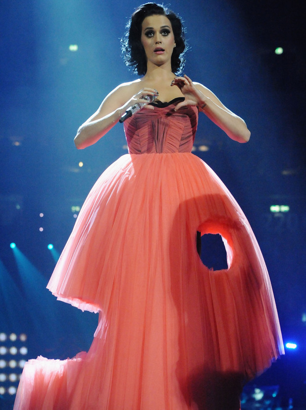 BERLIN - NOVEMBER 05: Host Katy Perry on stage during the 2009 MTV Europe Music Awards held at the O2 Arena on November 5, 2009 in Berlin, Germany. (Photo by Jeff Kravitz/FilmMagic)