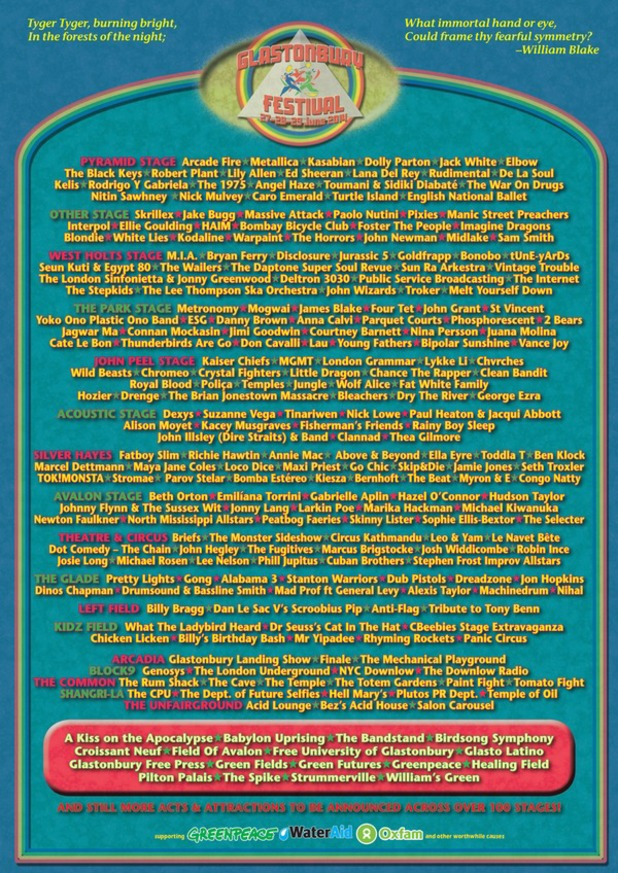 Glastonbury 2014 full lineup poster