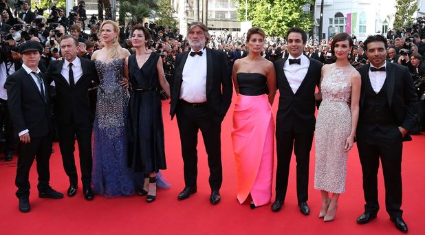 Olivier Dahan, British actor Tim Roth, Australian actress Nicole Kidman, French actress Jeanne Balibar, French producer Pierre Ange Le Pogam, a guest, British-Iranian screenwriter Arash Amel, Spanish actress Paz Vega and Indian producer Uday Chopra pose as they arrive for the Opening Ceremony and the screening of their film 'Grace of Monaco' at the 67th edition of the Cannes Film Festival in Cannes
