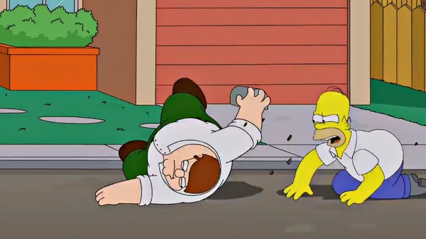The Simpsons, Family Guy crossover episode Homer and Peter