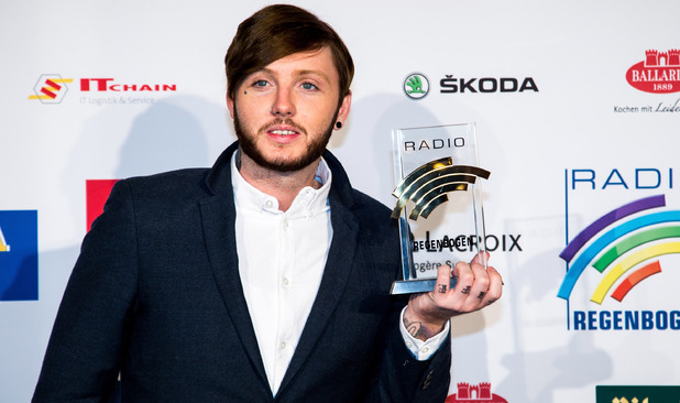 RUST, GERMANY - APRIL 11: James Arthur poses with his award prior to the Radio Regenbogen Award 2014 on April 11, 2014 in Rust, Germany. (Photo by Simon Hofmann/Getty Images)