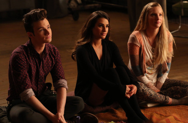 Chris Colfer as Kurt, Lea Michele as Rachel & Heather Morris as Brittany in Glee S05E20: 'The Untitled Rachel Berry Project'
