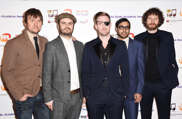LONDON, ENGLAND - MAY 12: (L-R) Andrew White, Vijay Mistry, Ricky Wilson, Nick Baines and Simon Rix of Kaiser Chiefs attend The Radio Academy Awards at The Grosvenor House Hotel on May 12, 2014 in London, England. (Photo by Dave J Hogan/Getty Images)