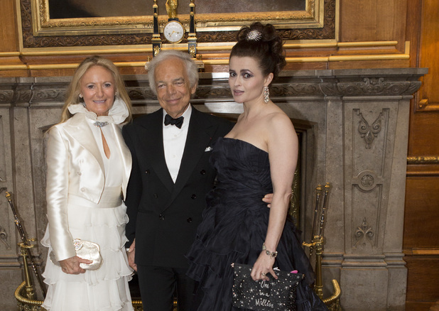 WINDSOR, ENGLAND - MAY 13: (L-R) Ricky Lauren, Ralph Lauren and Helena Bonham Carter attend a dinner to celebrate the work of The Royal Marsden hosted by the Duke of Cambridgeon May 13, 2014 in Windsor, England. (Photo by Doug Seeburg-Pool/Getty Images)