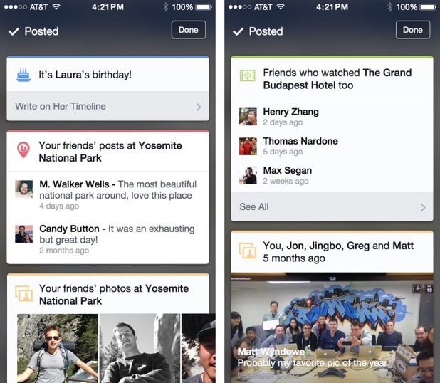 Facebook's contextual-based iOS app