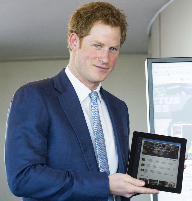 Prince Harry sends his first tweet from the top of the BT Tower to mark Invictus Games tickets going on sale