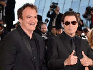 Quentin Tarantino and John Travolta attend the 'Clouds Of Sils Maria' premiere during the 67th Annual Cannes Film Festival