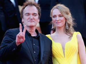 Quentin Tarantino and Uma Thurman attend the 'Clouds Of Sils Maria' premiere during the 67th Annual Cannes Film Festival