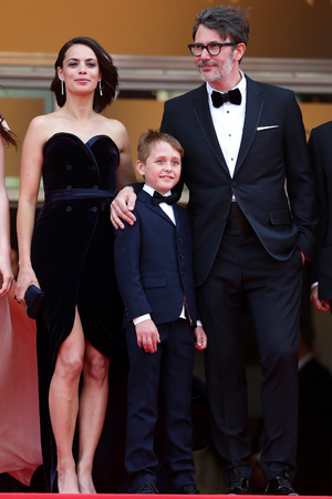 CANNES, FRANCE - MAY 21: (L-R) Actress Berenice Bejo, Abdul Khlim Mamamtsuiev and director Michel Hazanavicius attend 'The Search' premiere during the 67th Annual Cannes Film Festival on May 21, 2014 in Cannes, France. (Photo by Vittorio Zunino Celotto/Getty Images)
