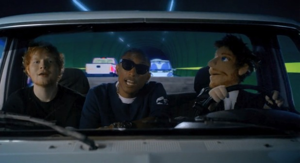 Ed, Pharrell and erm, Ed again in the music video for 'Sing'