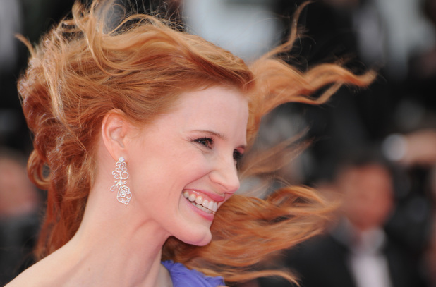 CANNES, FRANCE - MAY 19: Jessica Chastain attends the 'Foxcatcher' premiere during the 67th Annual Cannes Film Festival on May 19, 2014 in Cannes, France. (Photo by Traverso/L'Oreal/Getty Images)