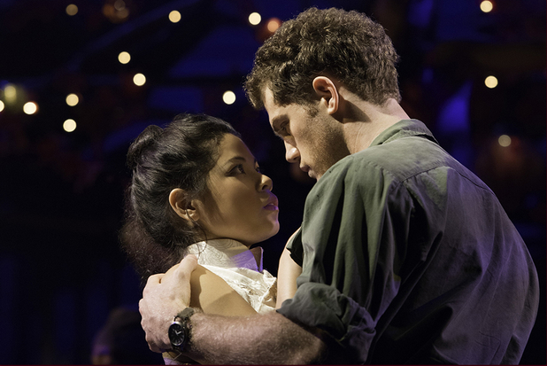 Eva Noblezada as Kim and Alistair Brammer as Chris in Miss Saigon