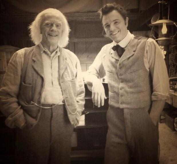 Christopher Lloyd and Seth MacFarlane on the set of  A Million Ways to Die in the West.