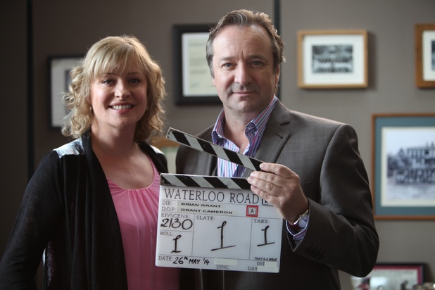 Laurie Brett and Neil Pearson on set at Waterloo Road