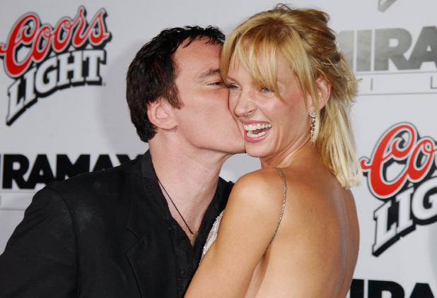 Quentin Tarantino and Uma Thurman during 'Kill Bill Vol.1' Hollywood Premiere at Grauman's Chinese Theater in Hollywood, California, United States. (Photo by Jon Kopaloff/FilmMagic)