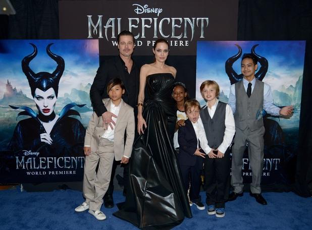 Pax, Brad Pitt, Angelina Jolie, Zahara, Shiloh. Knox, Maddox, Angelina Jolie at Maleficent premiere LA