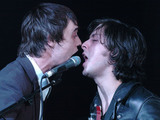 Pete Doherty and Carl Barat of The Libertines perform at Brixton Academy