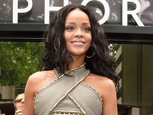 Rihanna attends the 'Rogue by Rihanna' launch at Sephora Champs-Elysees