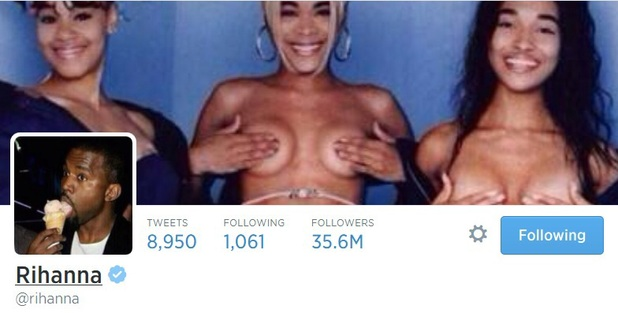 Rihanna sets her Twitter wallpaper to TLC nude