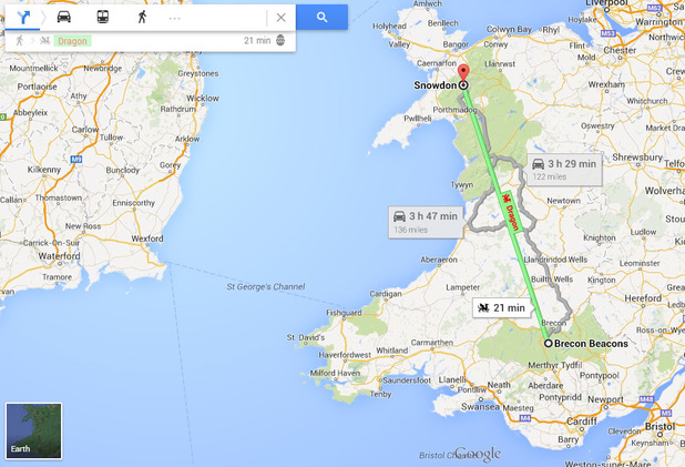 Google Maps dragon travel in Wales