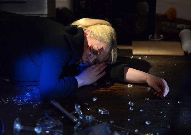 Sharon lies lifeless on the floor of The Albert.