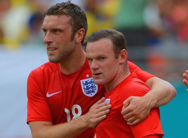 Rickie Lambert & Wayne Rooney during Englands friendly against Ecuador